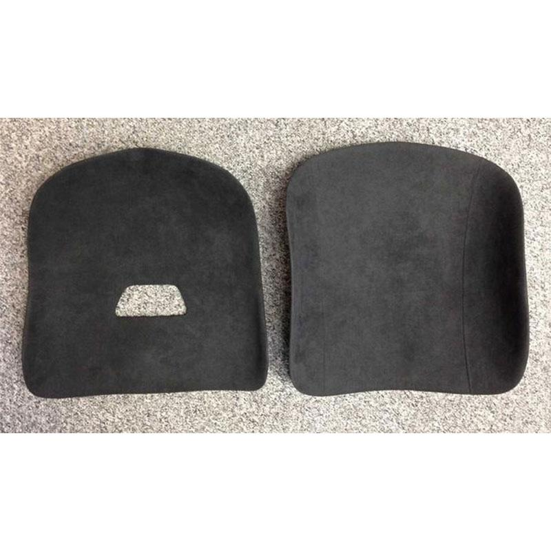 Two panel set for tillett seat covered in black Dinamica suede